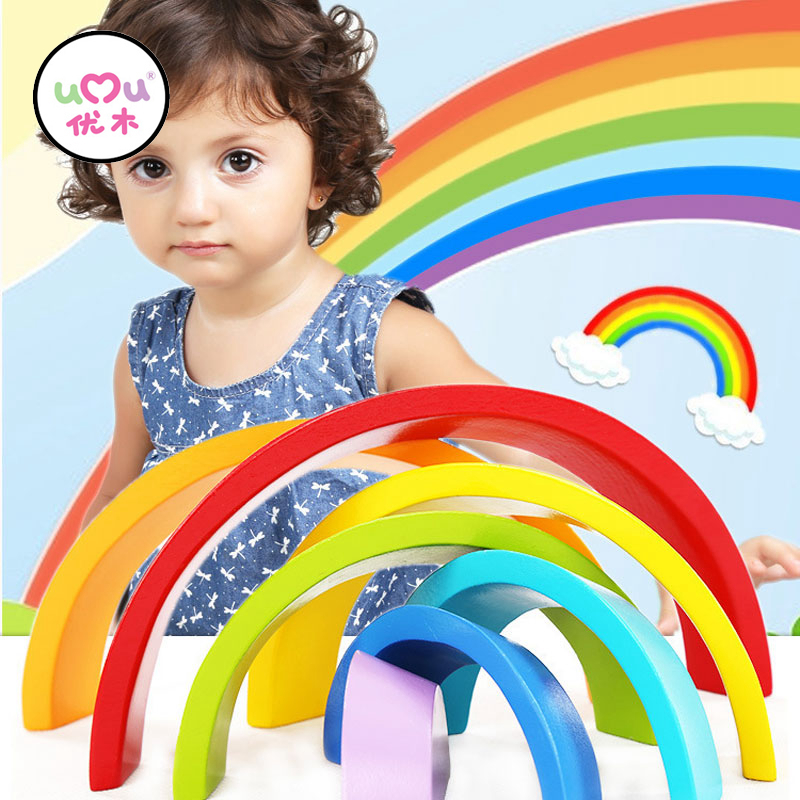 7Pcs/Lot Colorful Wood Rainbow Building Blocks Toys Wooden Blocks Half Circle Baby Colour Recognition Play Game Toy UQ3089H