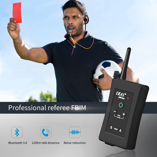 EJEAS FBIM Four-Way Bluetooth Referee Headset with Armband Case 1.2Km Waterproof Walkie Talkie for Soccer Football Coaches