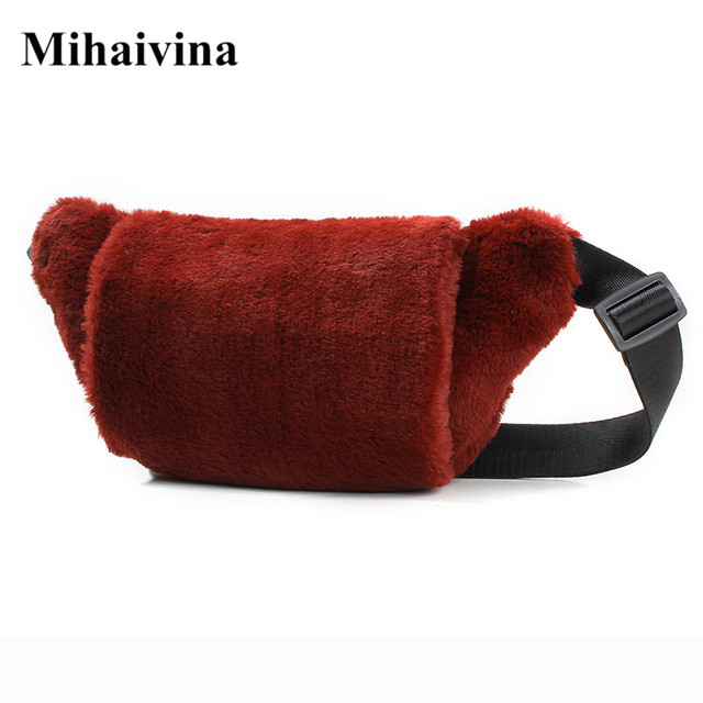 Mihaivina Suede Women Waist Bag Fur Fanny Pack Winter Female Chest Bag Fashion Shoulder Handbags Girl Waist Pack Hand Warmer
