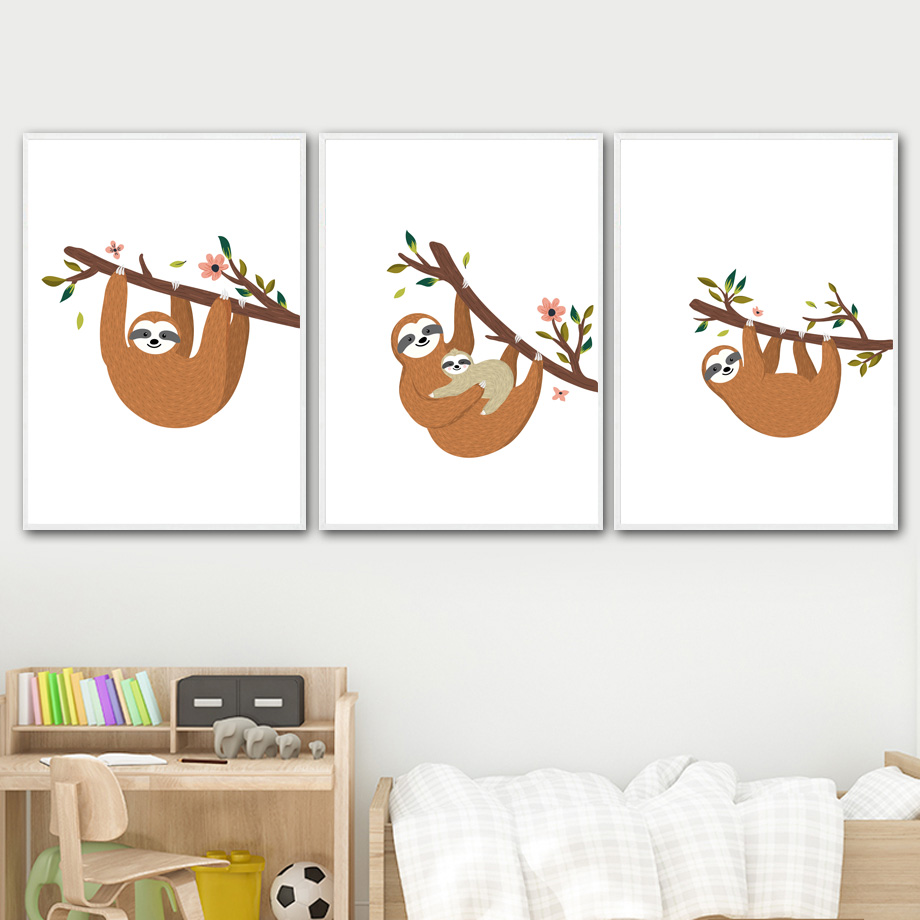 Image 3 - Cartoon Sloth Flower Branch Wall Art Canvas Painting Nordic Posters And Prints Nursery Wall Pictures For Kids Baby Room Decor-in Painting & Calligraphy from Home & Garden