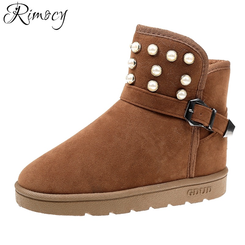 Rimocy fur winter snow boots women brand design pearls platform ankle boots soft plush warm shoes woman comfortable casual flats
