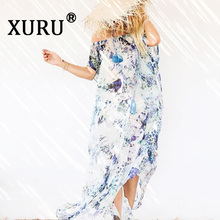 XURU summer new chiffon dress print tube top loose dress bohemian holiday beach split long dress rabbit print split top