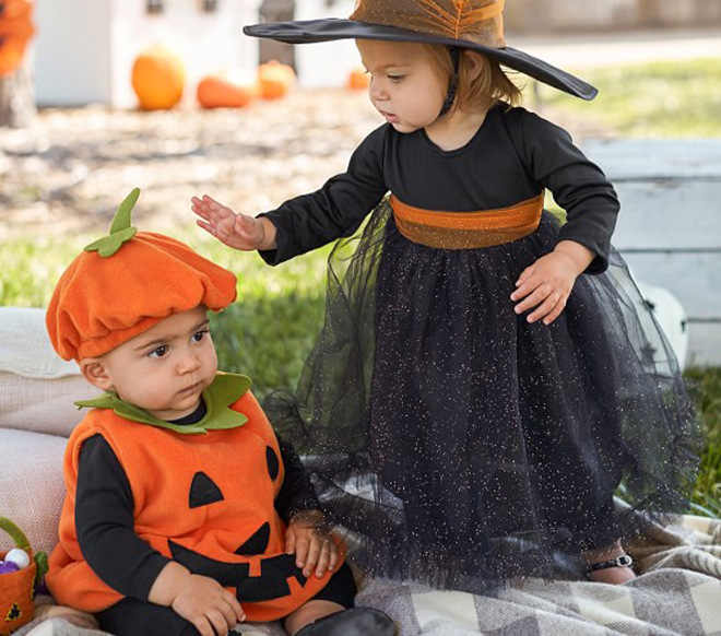 0-3Y Newly Cosplay Halloween Toddler Kid Pumpkin baby Costume Print Sleeveless Romper Jumpsuits Tops+Hats Baby Clothes 2PCS