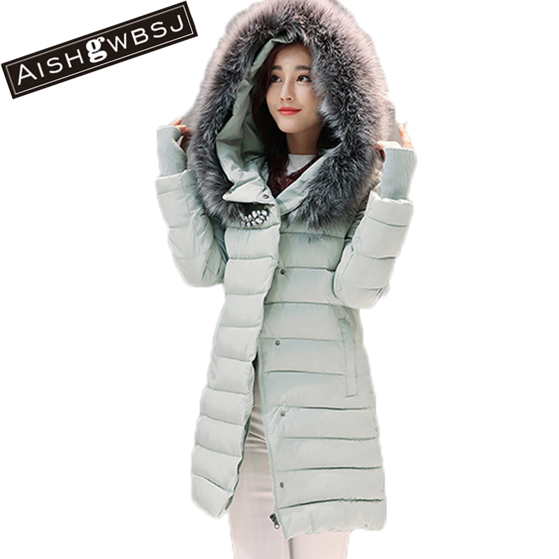 AISHGWBSJ new hooded long winter jacket women coat female jackets with fur collar thicker coats camperas de mujer invierno PL029 winter women basic jacket coat female slim hooded chaquetas mujer coats casual jackets casaco feminino parkas mujer invierno q4