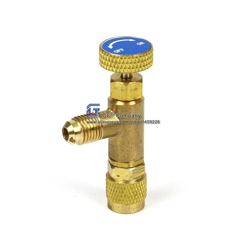 Válvula de Control de flujo de 1/4 ''-1/4'' para manguera de carga de refrigerante R404A R22 R407C