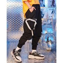 SODAWATER Girl Streetwear Black Jogger Pants Women Pockets Jogger Pants 100% Cotton Loose Jogger Pants Woman Casual Pants 9323S drawstring spliced camo jogger pants