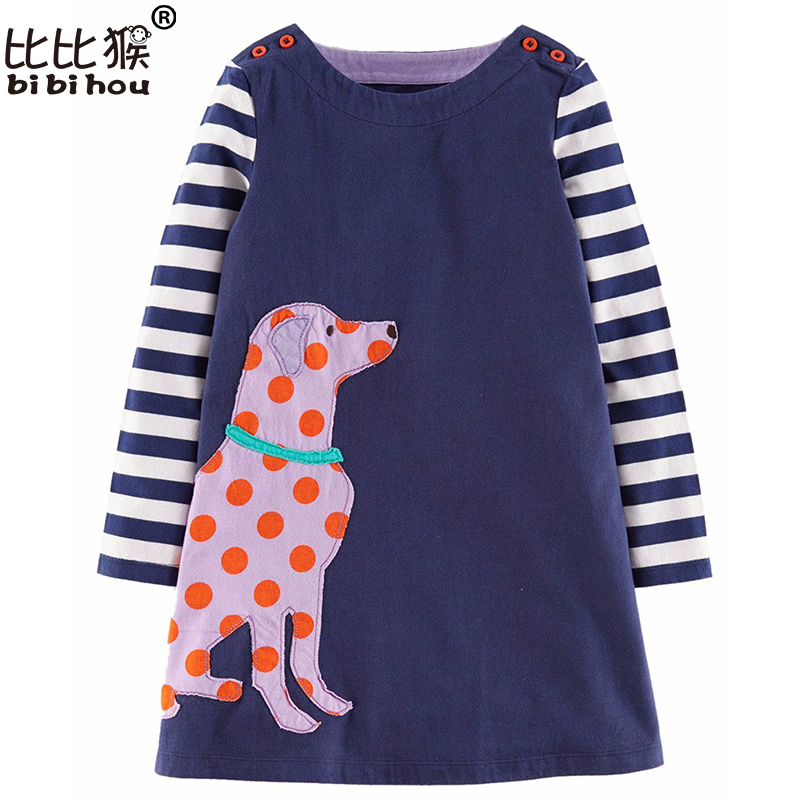 Girls Dresses Long Sleeve 2017 Spring Brand Kids Dress for Girls Clothes Robe Enfant Striped Animal Print Costumes for Children girls dresses long sleeve 2017 spring brand kids dress for girls clothes baby infant animal flower princess costumes children
