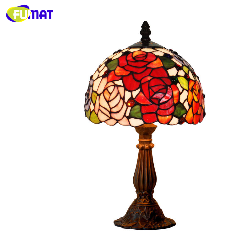 Fumat Stained Glass Table Lamp Glass Art Shade Lights For Bedside