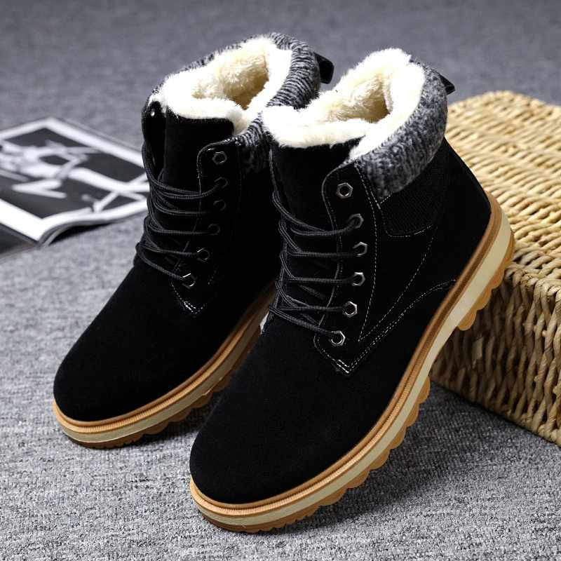 Большие размеры Осень-зима мужские Ботинки martin Ботинки без шнуровки  кожаные дышащие ботильоны мужская обувь 2755eb95f13