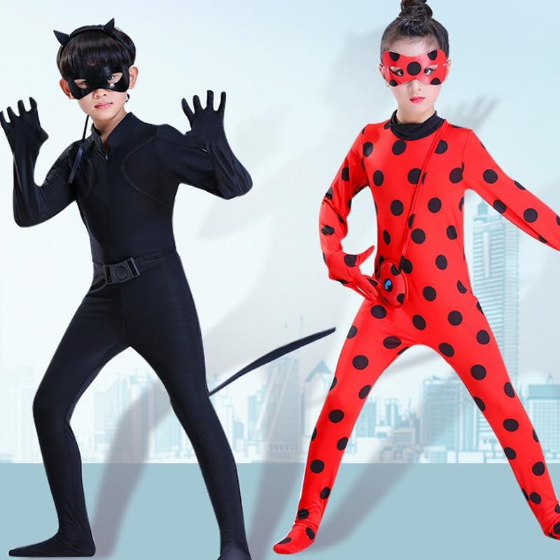 Lady Bug Costume New Ladybug Party Kids Boys Clothing Sets Black Cat Noir Carnival Cosplay For Adults Men Jumpsuit+Mask Costume