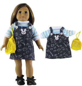 Image 5 - 5 Set Fashion Style Clothing Doll Clothes+4 hats+4 bags+one pairs tights for 18 inch doll clothes american doll accessories