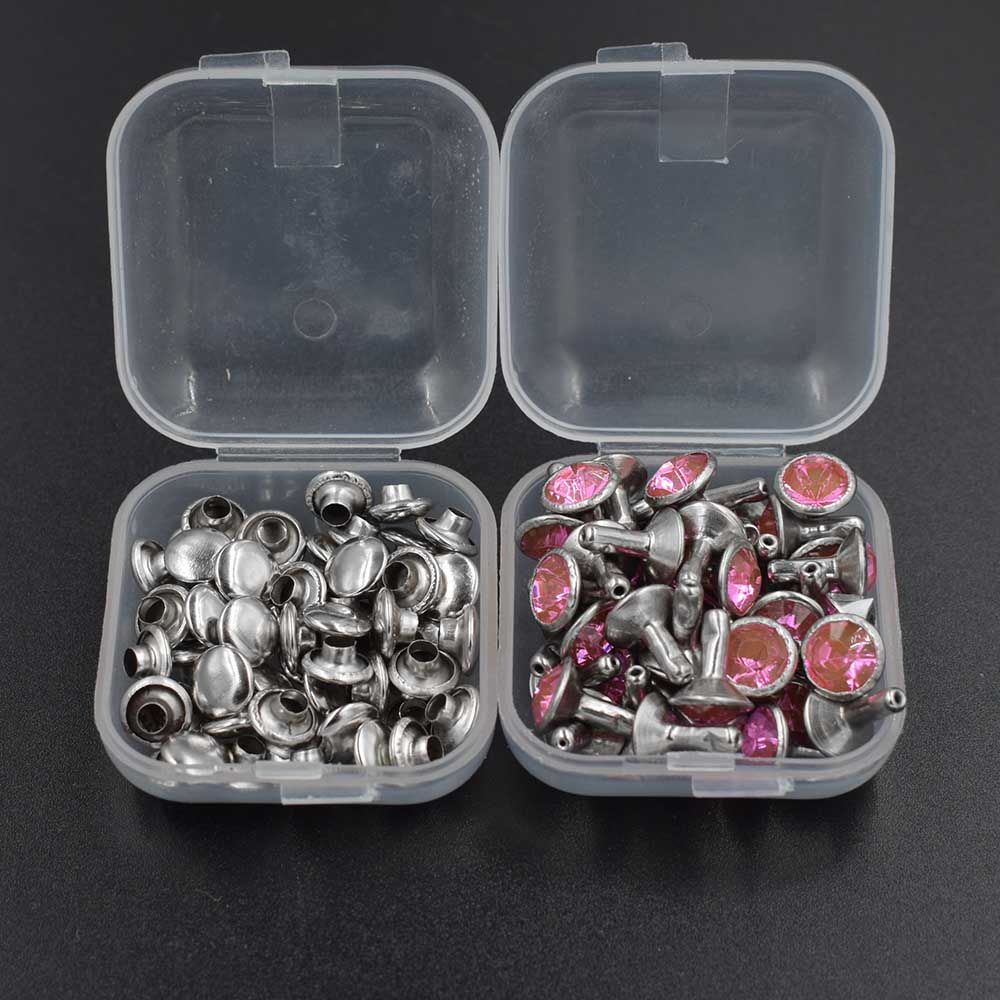 50 sets / LOT. Diamond rivets.Acrylic diamond <font><b>buttons</b></font>. Snaps. Colored decorative nails. Clothing & Accessories. image