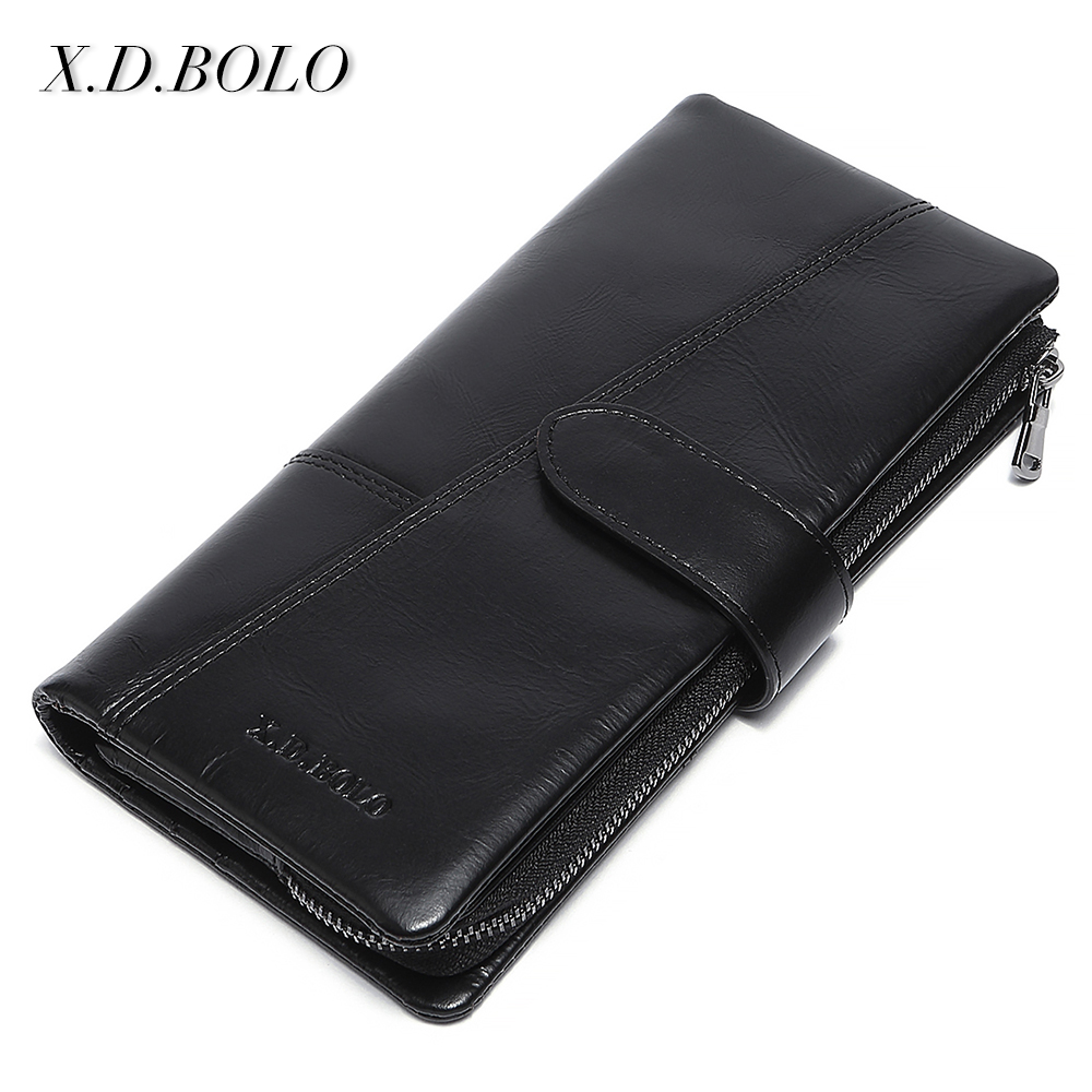 X.D.BOLO Genuine Cowhide Leather Men Wallets Fashion Purse With Card Holder Vintage Long Wallet Clutch aetoo genuine leather wallets men wallets clutch male purse long wallet clutch men bag card holder purse phone holder vintage