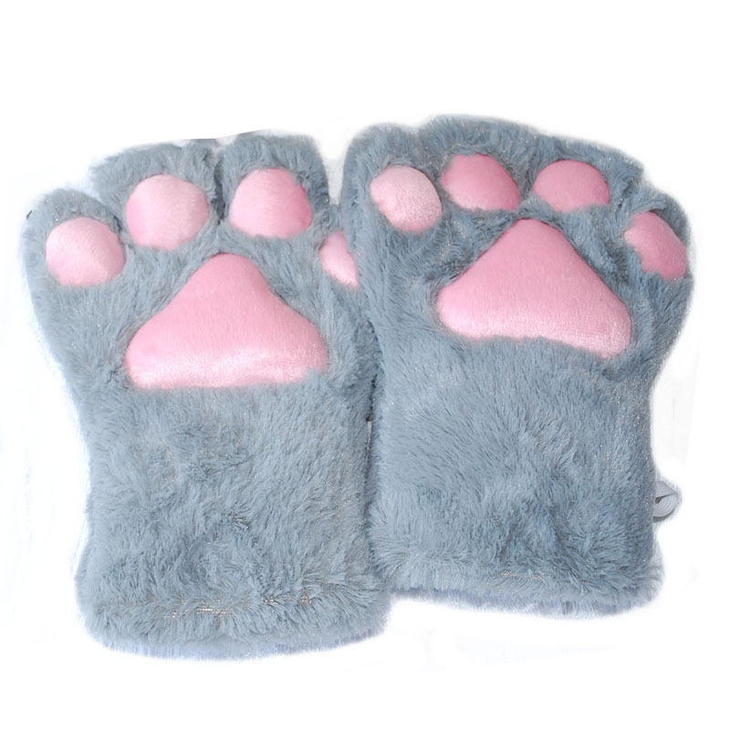 1 Pair Soft Anime Cosplay Plush Cute Bear Cat Kitten Paw Claw Gloves for Halloween Party Women Accessories 5 Colors