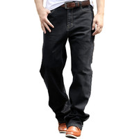 Brand Big Men Black Baggy Jeans Teen Boys Hip Hop Jeans Long Loose Skateboard Relaxed Fit