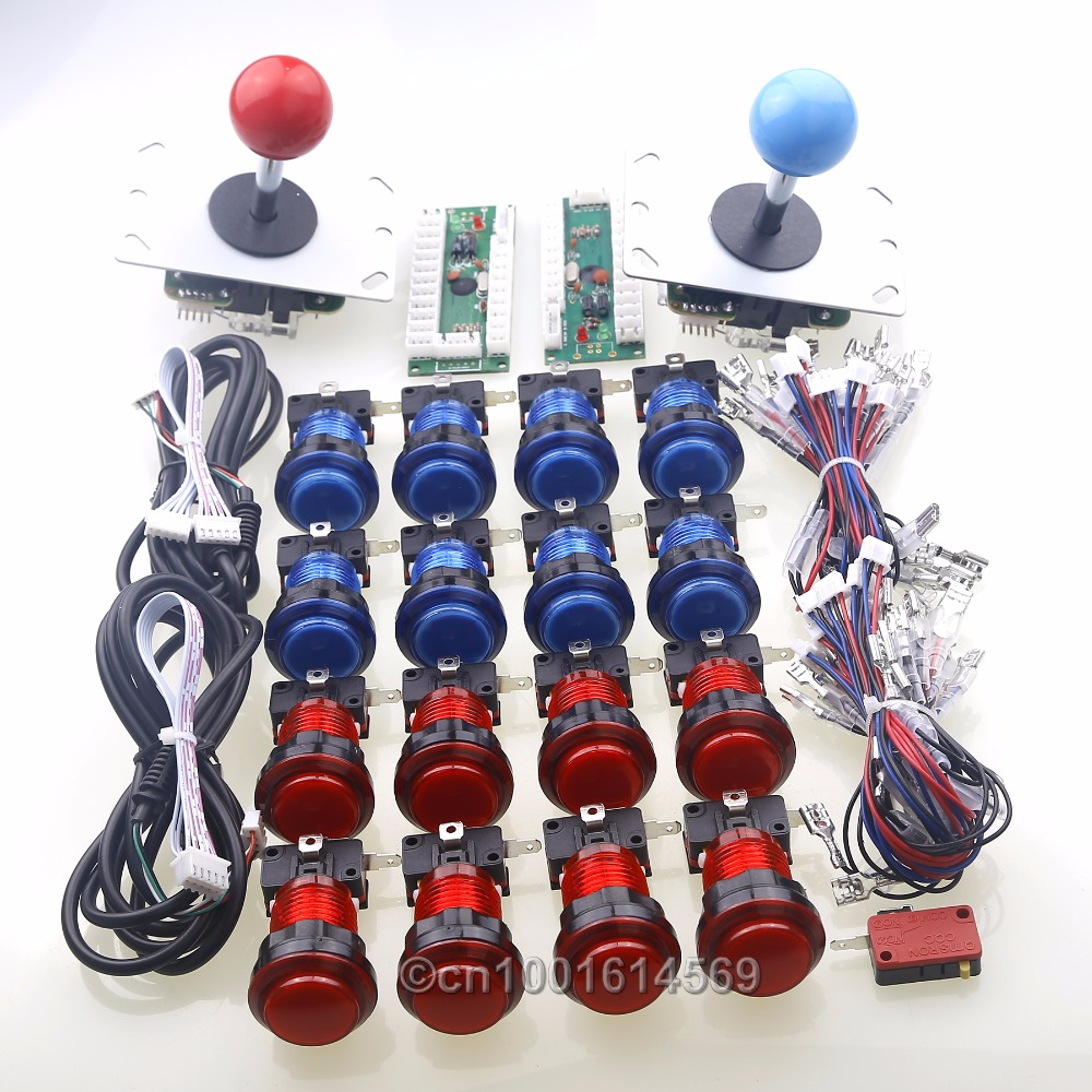 Arcade Games USB Controller Handle Encoder + 5 Pin Arcade Gamepads Wire + 16 x LED Arcade Buttons To PC Controller Computer Game