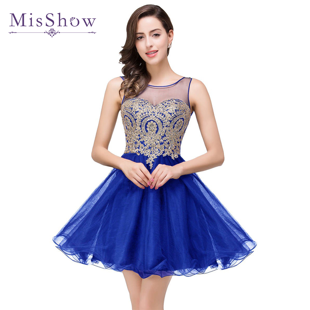 2019 Stock A Line Sheer Neck  Tulle Royal Blue Homecoming Dresses Short Mini Cocktail Prom Party Dress Gold Lace Appliques Dress