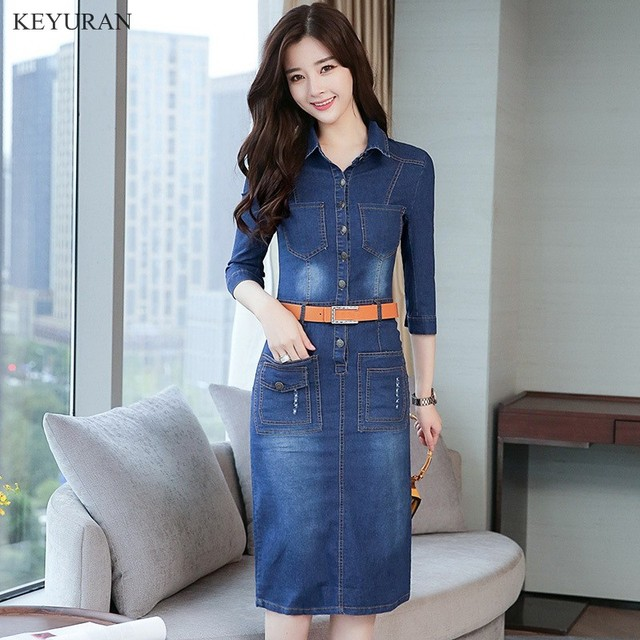 63f51037573 Spring Summer Tunic Shirt Dress Women Denim Vintage Three Quarter Sleeve  Blue Jeans Dresses Party Sexy