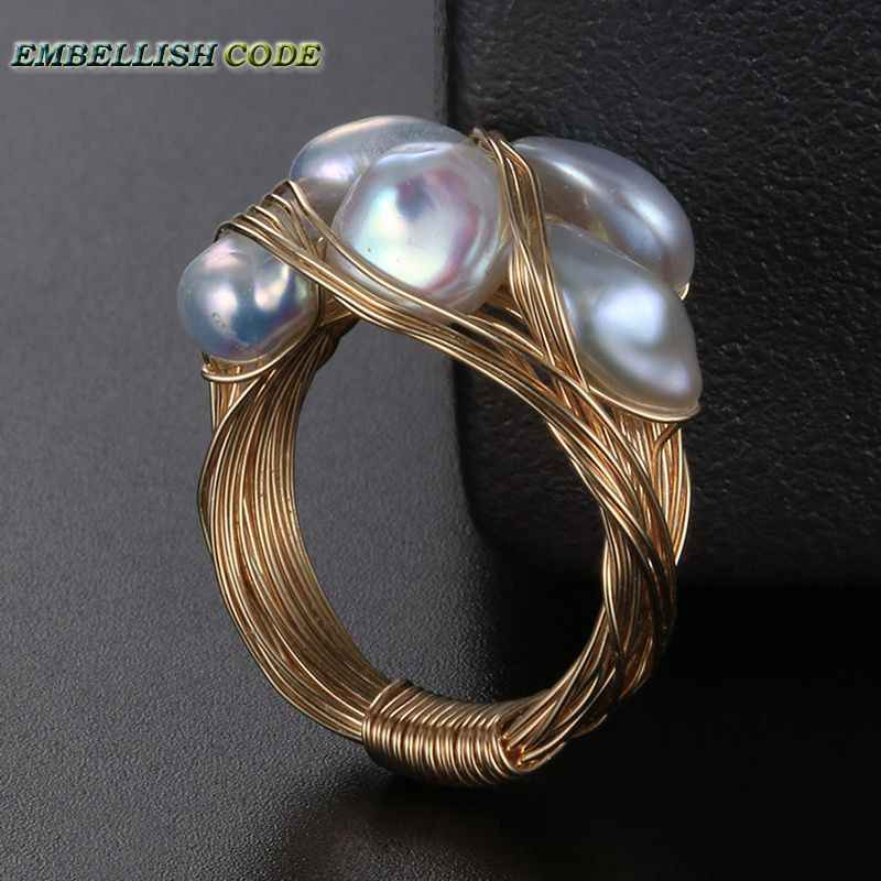 NEW Designer pieces ring gold with baroque pearls hand make ring white yellow and mixed color