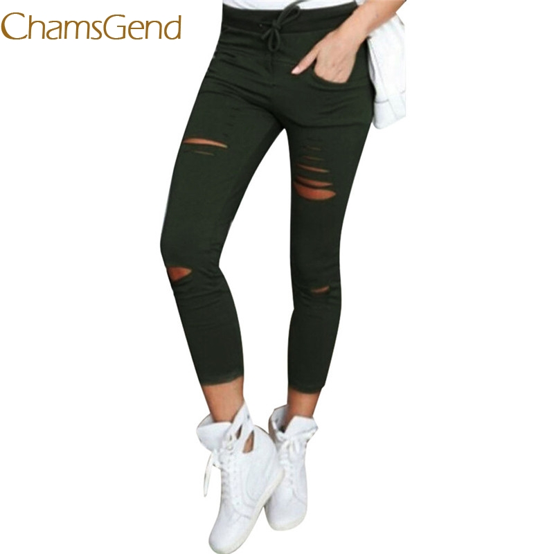 2017 hot  6 color hole tops  jeans Women XXXL Cotton Blend Elastic High Waist Trousers LadiesVintage Pencil Slim Skinny jeans new fashio hip hop men jeans high street fog fear of god knee hole destroy elastic feet slim jeans gd kanye west skinny trousers