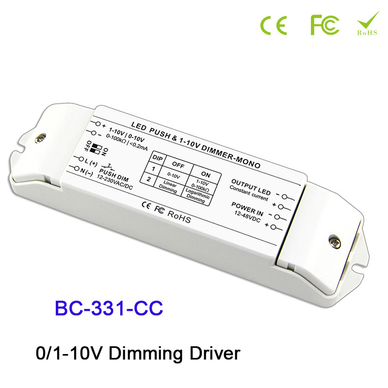 BC-331-CC LED Dimming Driver 0-10V Constant current strip LED PWM dimmer 350/700/1050mA max 2400mA dimming driver