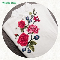 New High Quality DIY 3D Lace Patch Vintage Embroidered Roses Path Embroidery Fabric Applique Patch For
