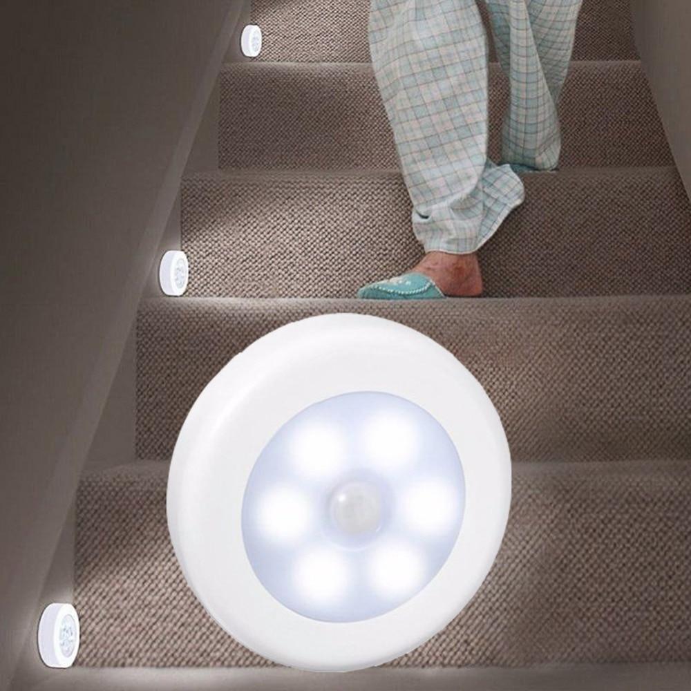 Litake 30pcs PIR Motion Sensor 6 Led Night Light Wireless Detector Light Wall Lamp Auto On
