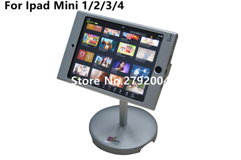 for mini iPad desktop stand safe table holder mount on countertop with anti-theft enclosure securiy lock display for shop wall mount table stand