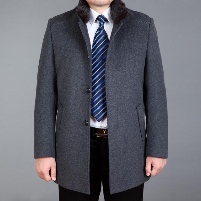 Outono Inverno Casacos de Lã Dos Homens Casacos Único Breasted Turn-Down Colarinho Cashmere Trench Coats Casacos Masculinos Casuais WHJ105