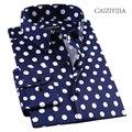 CAIZIYIJIA Горячей Продажи Горошек Печатные Рубашки Мужчин Высокого Качества С Длинным Рукавом Camisa Masculina Повседневная Рубашка Хлопка Brand Clothing