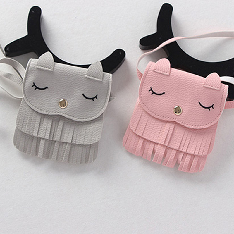 Hot Sale Cute Children Girls Tassel Small Cat Shoulder Messenger Bag Mini font b Coin b