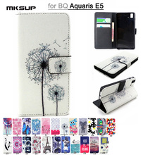 Colorful Painting Phone Cases for BQ Aquaris E5 Fashion Flip Stand Wallet PU Leather Back Cover For BQ Aquaris E5 Cover Skin Bag