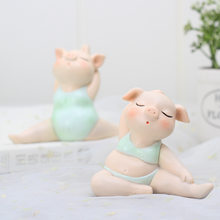 Cartoon Yoga Pig Animal Craft Fairy Garden Miniatures Gnomes Moss Terrariums Resin Figurines for Home Decoration Accessories(China)