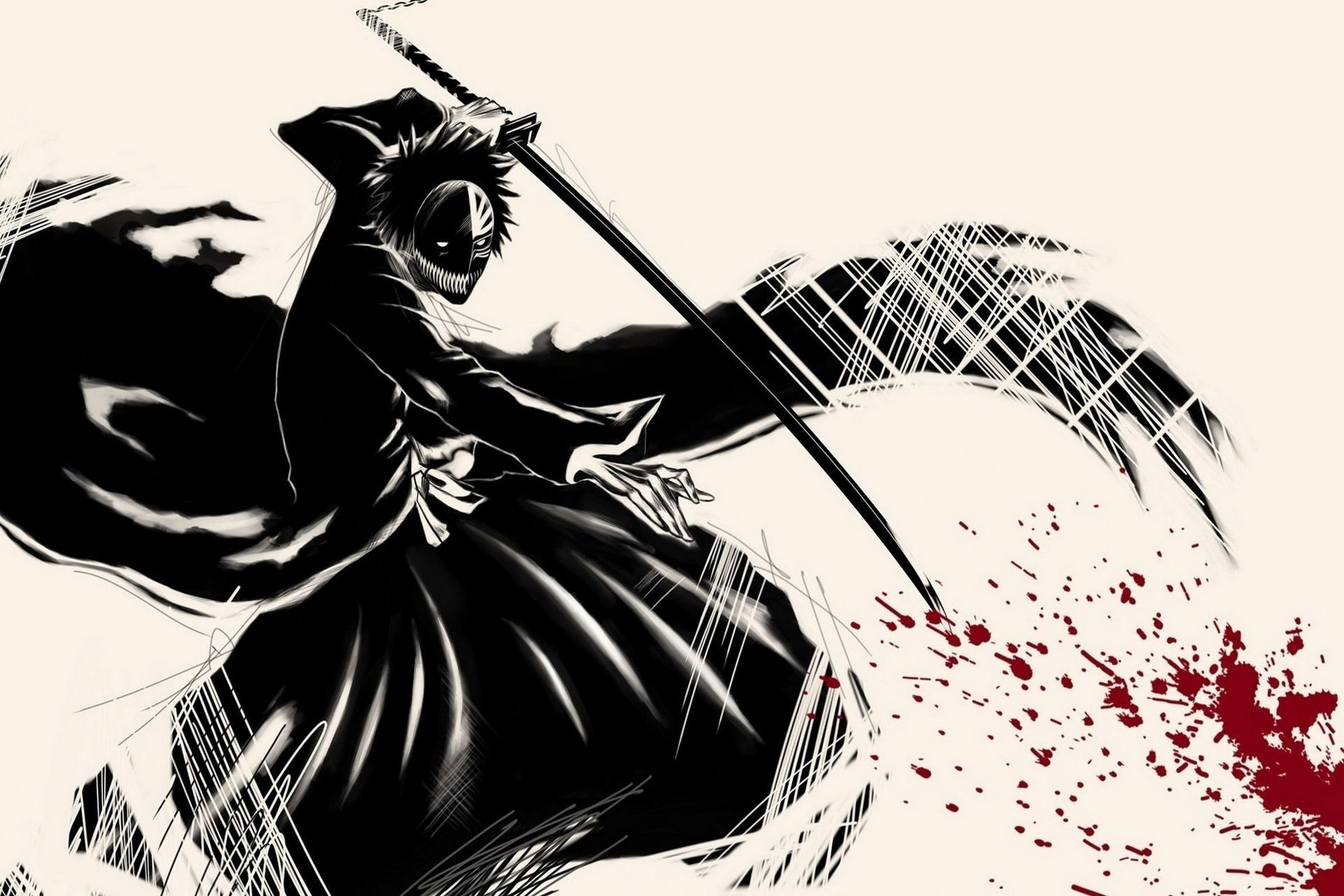 Personaje de anime Bleach Hollow katana con sangre Sala Arte ...