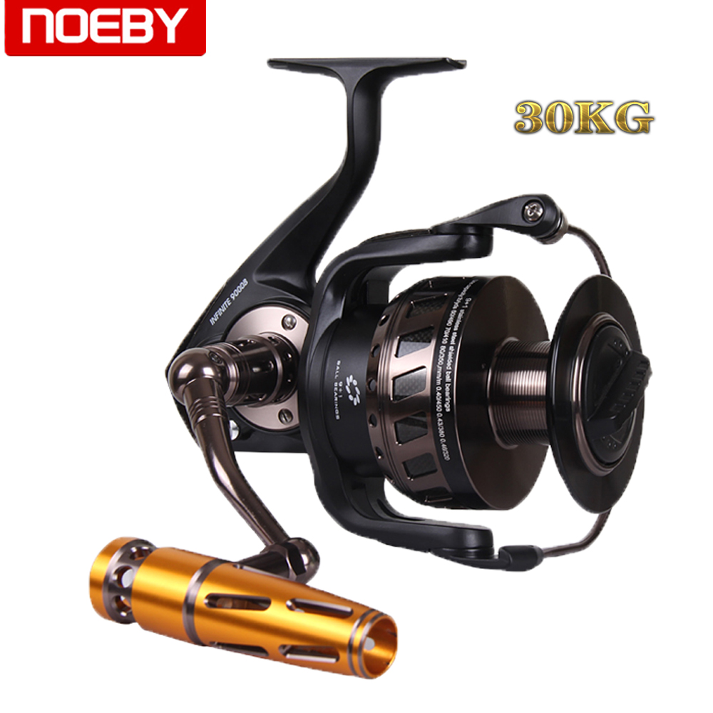 NOEBY Size 9000 30kg Drag Power Spinning Reel 9+1BB Full Metal Trolling Fishing Reel 4.1:1 Gear Ratio Saltwater Fishing Tackle russian style spinning fishing reel red wheel max drag 6kg 5 2 1 gear ratio 9 1bb ball bearings fishing tackle free spoon