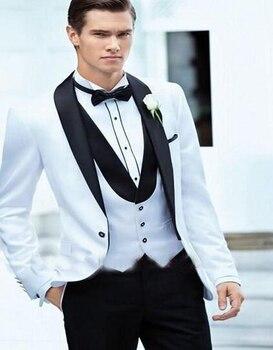 2017 High-grade One Button White Groom Tuxedos Black Shawl Collar Best Man Groomsmen Men Wedding Suits(jacket+pants+vest)