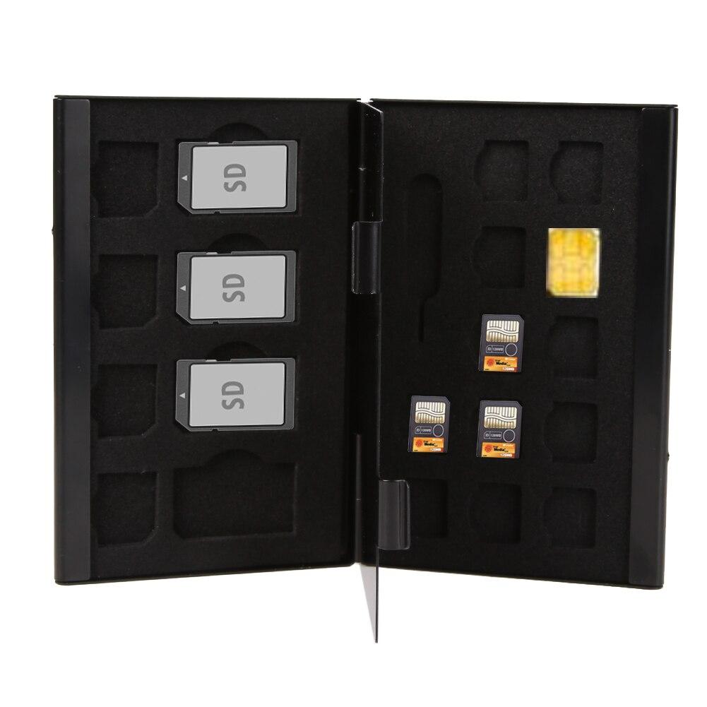15in1 Aluminum SIM Micro Nano SIM Cards Pin StorageBox Case HolderProtector Anti-magnetic Memory Card Storage Case Box