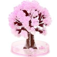 Visual magia artificial sakura árvores decorativo crescente diy presente da árvore de papel novidade brinquedo do bebê flor árvore