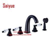 Bathtub faucet Antique Oil rubbed bronze 5 pcs bathroom sink faucet mixer with hand shower widespread