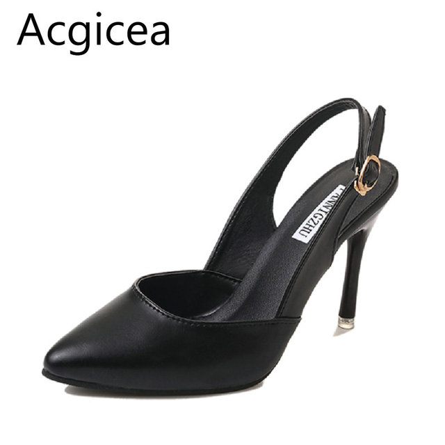 a38a7d6b217b 2018 New Fashion Summer Elegant Sandals Sexy Plain Black Formal Shoes Women  for Pants High Heels Ladies Office Pumps for Spring
