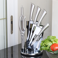 Kitchen Knife Set 7 Piece Knife Block Set, Stainless Steel Handle Knife Set with Rotate Block, Stainless Steel Chef Knife Set