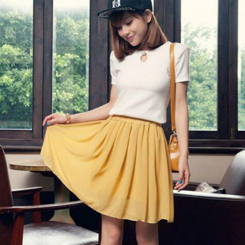 31a29ab9e8320 20 colors summer 2018 chiffon skirt high waist korean skirt solid color  short skirt plus size elatic womens clothing fashion-in Skirts from Women s  Clothing ...