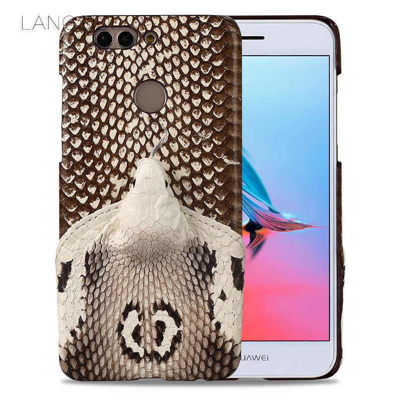 LANGSIDI brand phone case real snake head back cover phone shell For Huawei Nava2 Plus full manual custom processing