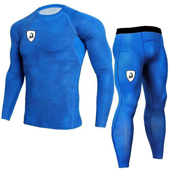 Men Long Sleeve Gym TrackSuit Train Stretch Sport T Shirt Suit Set Trousers Pants 5 Colors Sweatsuit  Elastic Waist