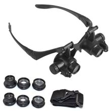 Premium Quality New Bracket Headband Magnifying Glass With 2 LED Lights And 6 Interchangeable Lens 10X 15X 20X 25X