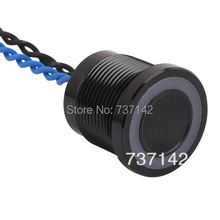 ELEWIND Black color aluminum anodized piezo push switch (19mm,PS193P10YBK1B24L,Rohs,CE)