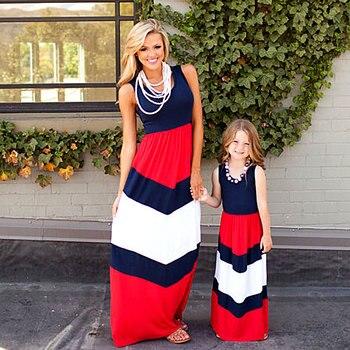 d84ac508e Verano mamá y mi familia de vestidos de la hija de madre ropa rayas de mamá  de niños trajes hermana mamá bebé niña