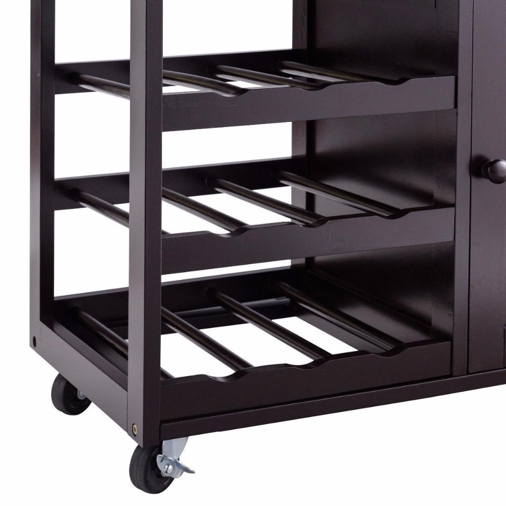 Giantex Modern Rolling Kitchen Cart Trolley Island Storage Cabinet w/Drawer&Wine Rack Dining Room Furniture HW56608BN 8