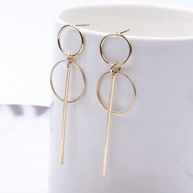 New Fashion Earrings Punk Simple Gold Silver Long Section Tassel Pendant Size Circle Drop Earrings For Women Gifts Wholesale