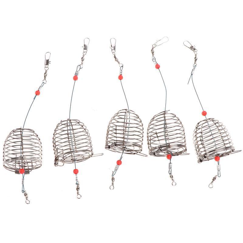 5Pcs Carp Fishing Bait Cage Trap Basket Feeder Holder Fishing Lures Cage